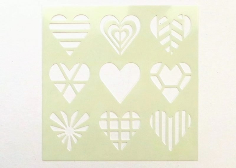 Patterned Hearts 6x6 Stencil Pic 2