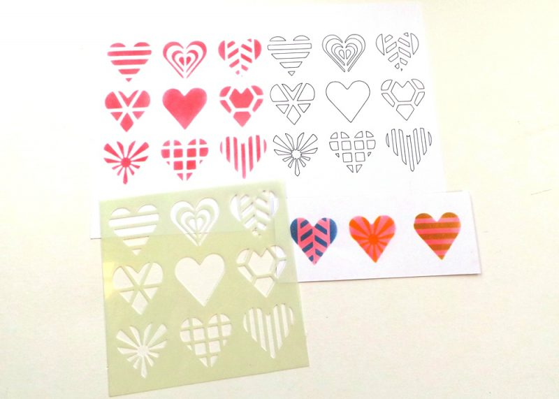 Patterned Hearts 6x6 Stencil Samples