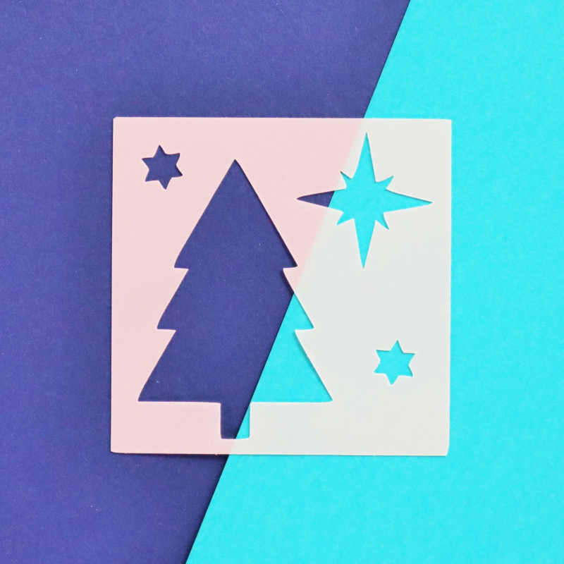 Christmas Tree 3x3 Stencil Happy Scatter